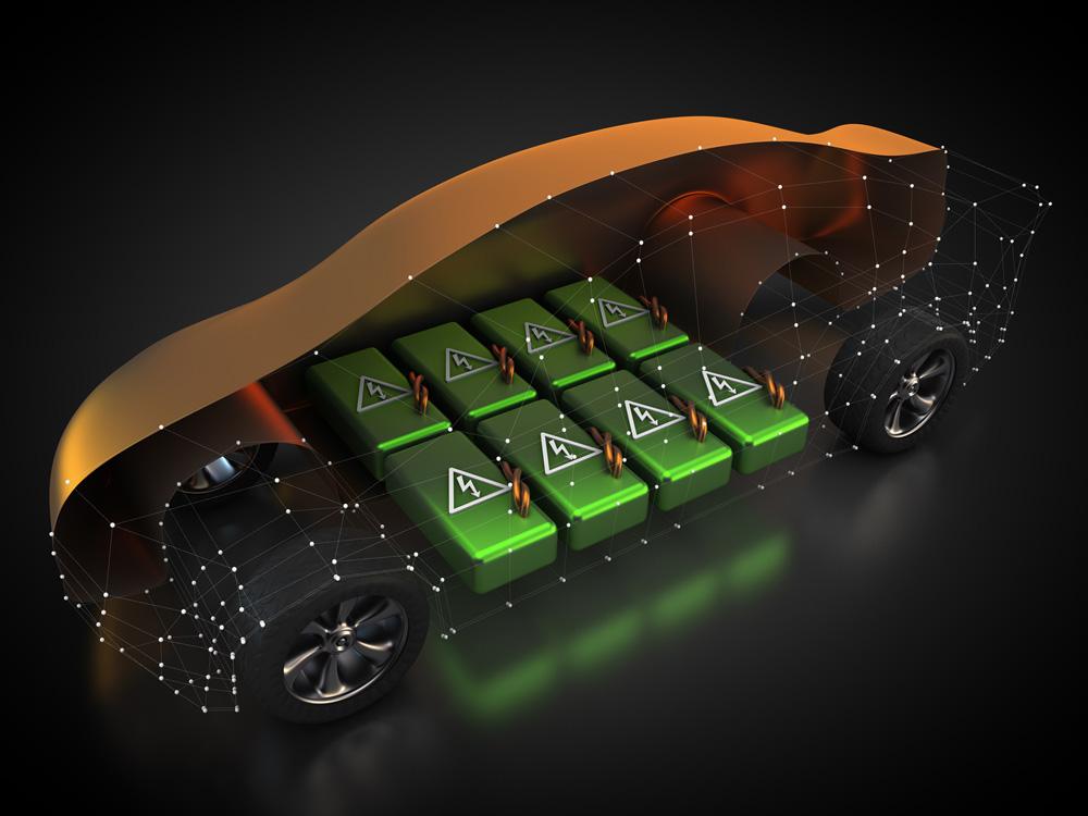 Blick auf den Akku der Karosserie eines Elektroautos. Copyright Patrick P. Palej @ fotolia.com