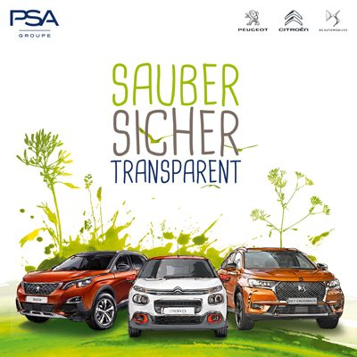 Sauber, Sicher, Transparent - Copyright PSA Groupe