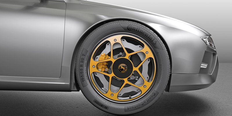 Neue Aufteilung zwischen Rad und Achse: Das New Wheel Concept realisiert eine Optimierung der Bremse speziell für Elektrofahrzeuge (EV). © Continental AG