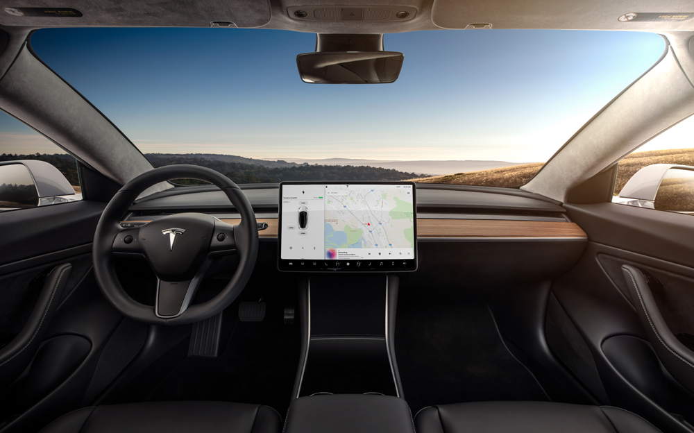 Tesla 3 Dashboard - Copyright Tesla